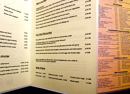 online printed menus